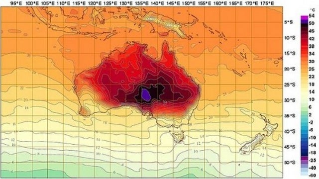 Australia Adds New Colors to Weather Forecasting Chart as Temperatures Skyrocket