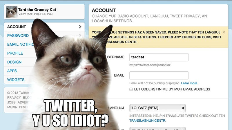 Twitter Adds LOLCAT to Supported Language List Because They Are So Clever and Funny