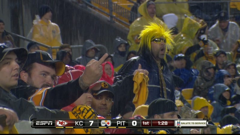 Since Everybody Loves Fans Flipping The Bird, Here's A Steelers Fan Flipping The Bird Last Night