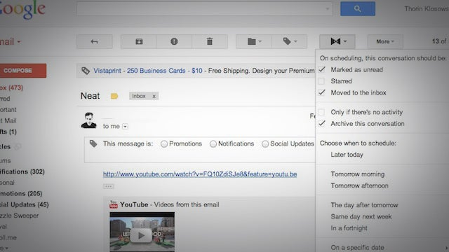Mailfred Temporarily Archives and Sets Reminders for Gmail Messages