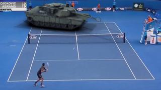 Djokovic vs un tanque Abrams en un genial partido de tenis (en CGI)