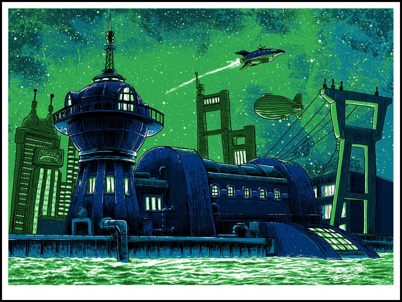 Quiet illustrations of Serenity and Planet Express Headquarters will fill you with nostalgia for places that don't exist