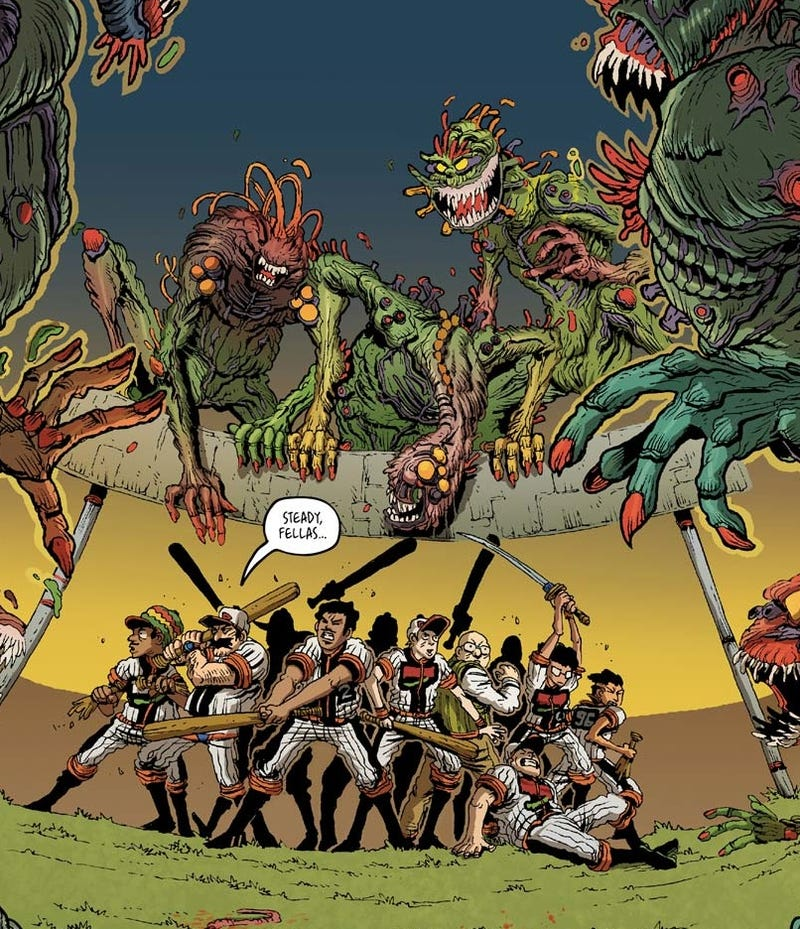 You'll want to throw money at this deranged graphic novel about baseball players versus monsters