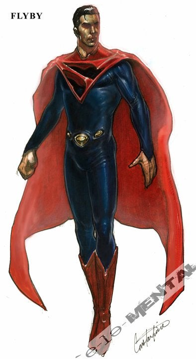 Unused concept art of Kal-El's costume and Doomsday from past Superman movies