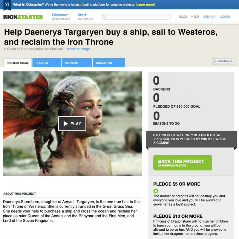 Crowdfund Daenerys Targaryen's quest to claim the Iron Throne