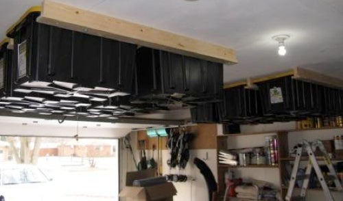 Clever Overhead Storage Hack Bolts Containers to Your Garage's Ceiling