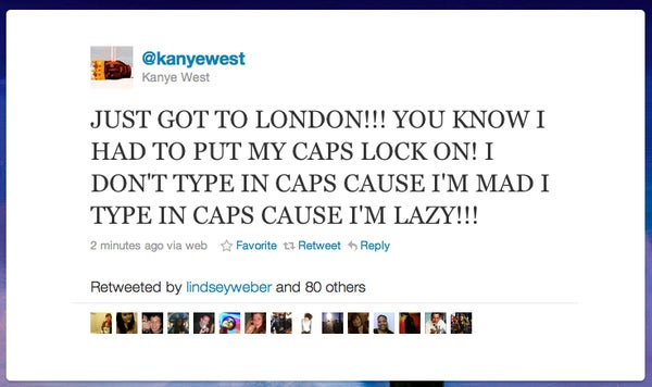 Kanye West Turns On All Caps Because He's Lazy