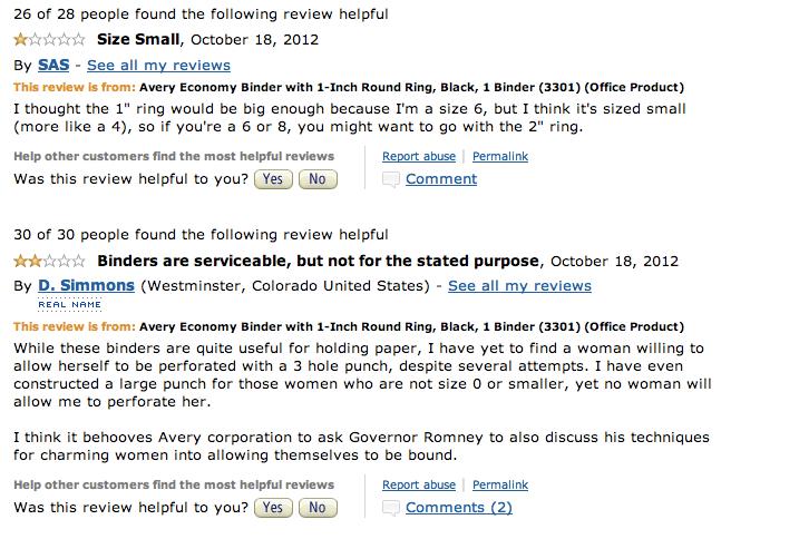 Romney's 'Binders Full of Women' Gaffe Inspires Amazing Amazon Reviews
