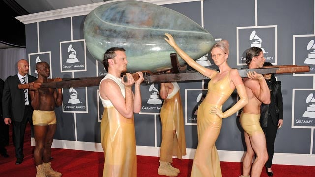 Lady Gaga Arrives at the Grammys In a Giant Egg