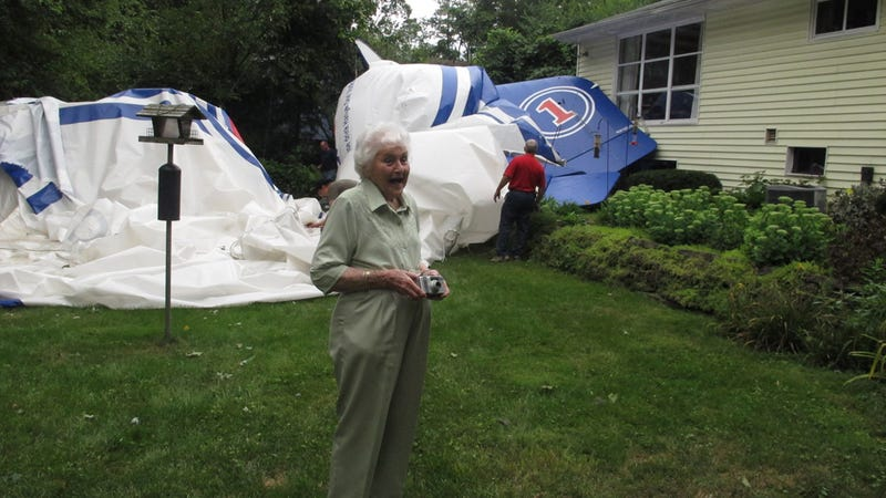 Blimp Ends Up in 94-Year-Old's Backyard