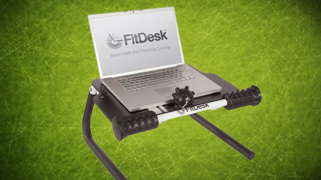 FitDesk Tabletop Standing Desk Raises Your Laptop and Massages You