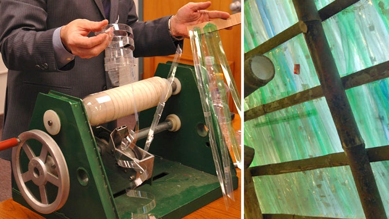 Hand-Cranked Machine Turns Plastic Bottles Into Thatch Roofs