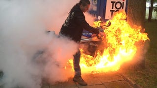 Extremely Be-Mulleted Hero Burns Out So Hard On Bike It Catches Fire