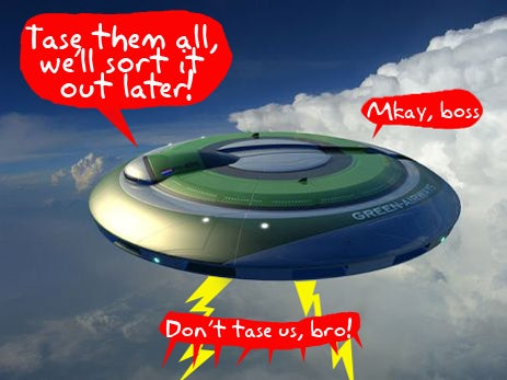 Taser Flying Saucer Drone on the Way