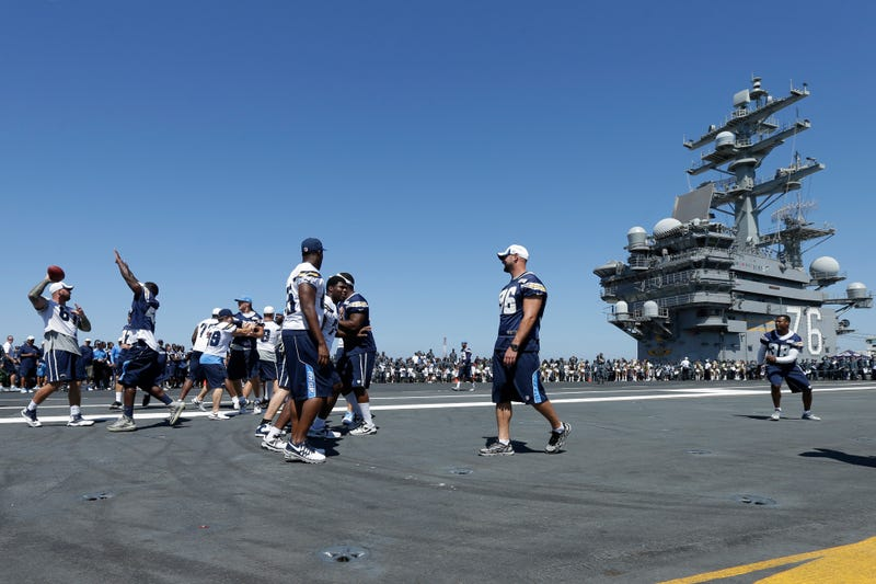 The Chargers Worked Out On An Aircraft Carrier