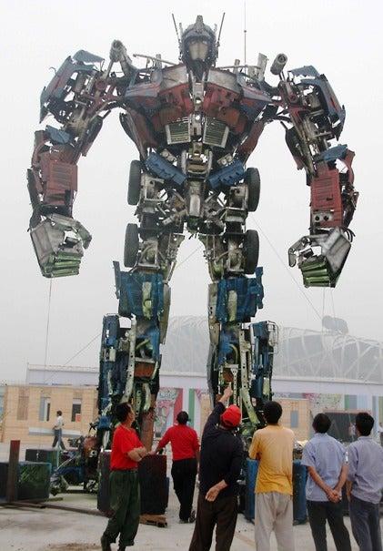 40-Foot Optimus Prime Transforms Beijing Skyline