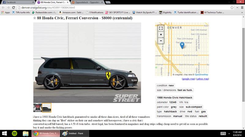 Trolling Craigslist Ad. Ferrari Powered Civic Hatch.