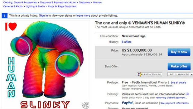 For Sale: Giant Slinky Suit, Like New Condition — $1,000,000