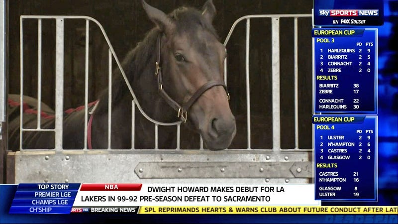The Sky Sports News Top Story Is That Goat (Or Horse) Dwight Howard Made His Lakers Debut Last Night