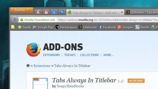 Tabs Always In Titlebar Saves Some Vertical Space in Firefox