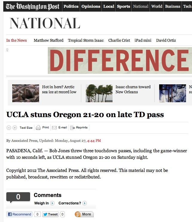 UCLA Beats Oregon In Football, According To Every Newspaper And TV Station In The Country