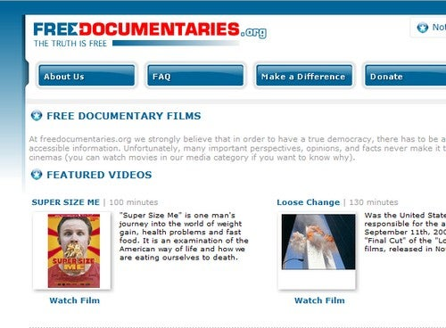 FreeDocumentaries Catalogs Free Documentaries for Your Viewing Pleasure