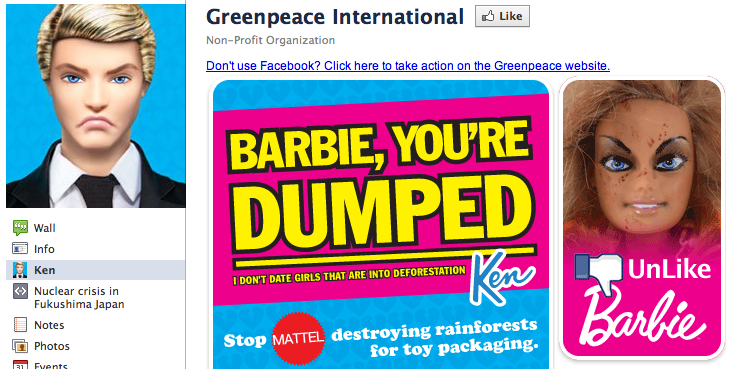 Barbie And Ken Break Up, And It's All Greenpeace's Fault