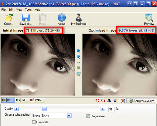 Radical Image Optimization Tool Provides Side by Side Image Comparison