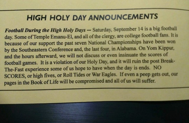 "'Bama Synagogue Issues ""No Spoilers"" Warning For Yom Kippur SEC Games"