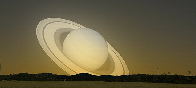 Simulation of Saturn passing by Earth on a collision course to the Sun