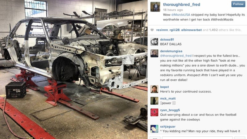 Here Is A Redskins Running Back's Mazda 626 Getting Totally Restored