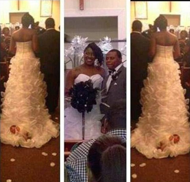 Bride Defends Attaching Newborn Baby to the Train of Her Wedding Dress