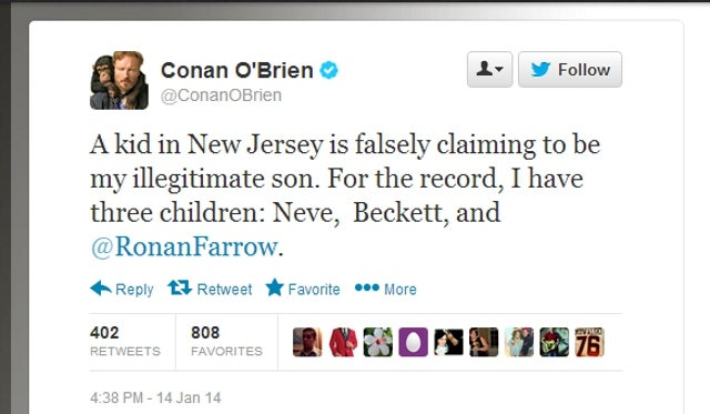 Conan O'Brien Responds to Claim That He Fathered an Illegitimate Son