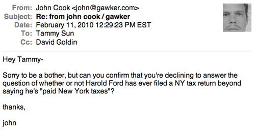 Harold Ford's Flack Desperately Backpedals