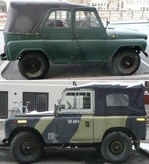 NATO Meets Warsaw Pact In Copenhagen: Land Rover and UAZ-469!
