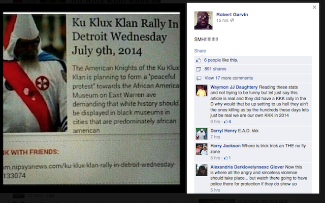 No, The Ku Klux Klan Is Not Coming To Detroit Tomorrow
