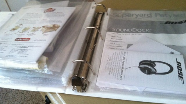 Create a Binder for Instruction Manuals and Receipts