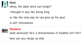 Dalai Lama threatens to resign