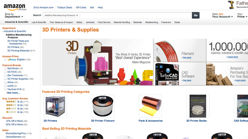 Amazon Has a 3D Printer Section Now