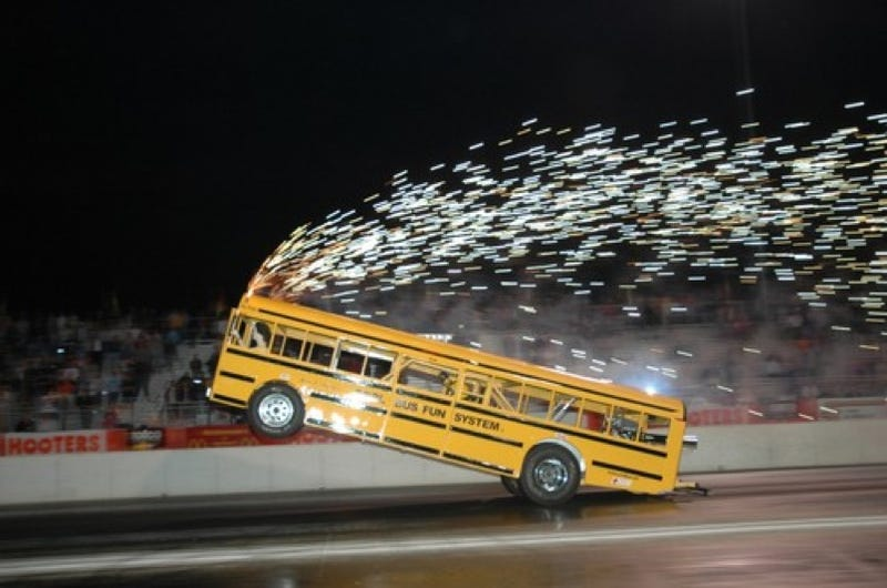 "Drag-Racing ""Cool Bus"" Crashes In Texas"