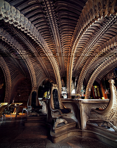 The Giger Bar, where you can sip a beer in the queen alien's womb