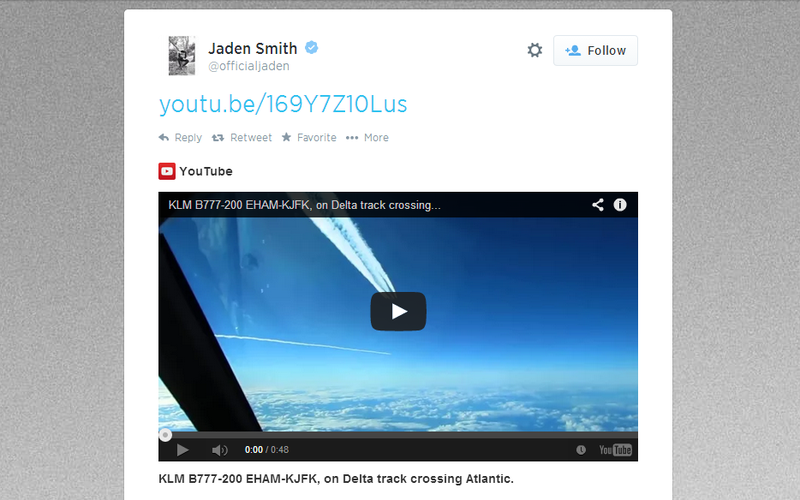 Why Did Jaden Smith Just Tweet This Video of a Plane Making Contrails?