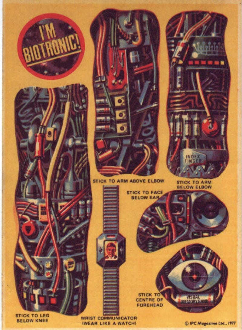 Become a DIY cyborg with these vintage Biotronic stickers from 2000 AD