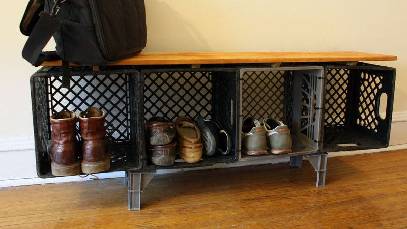 Make a Credenza Out of Milk Crates for Cheap and Easy Storage