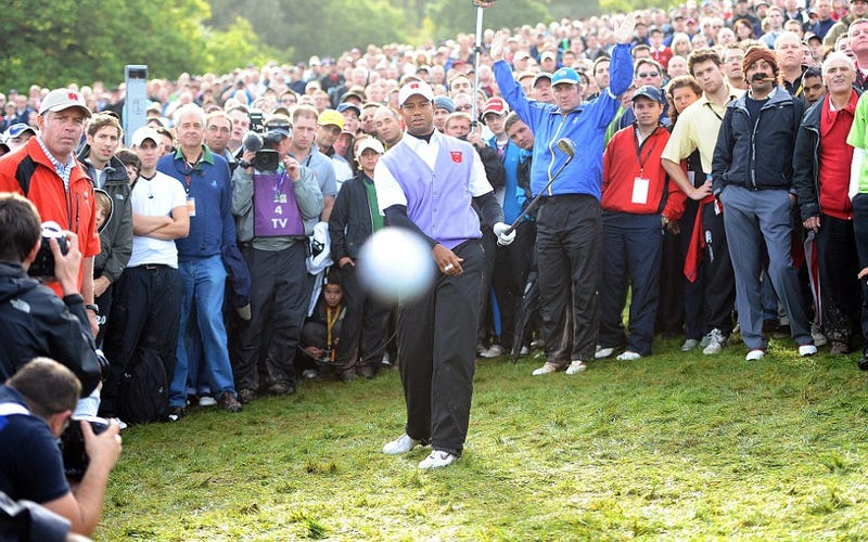 Tiger Woods Shoots Golf Ball Directly At Photographer's Camera