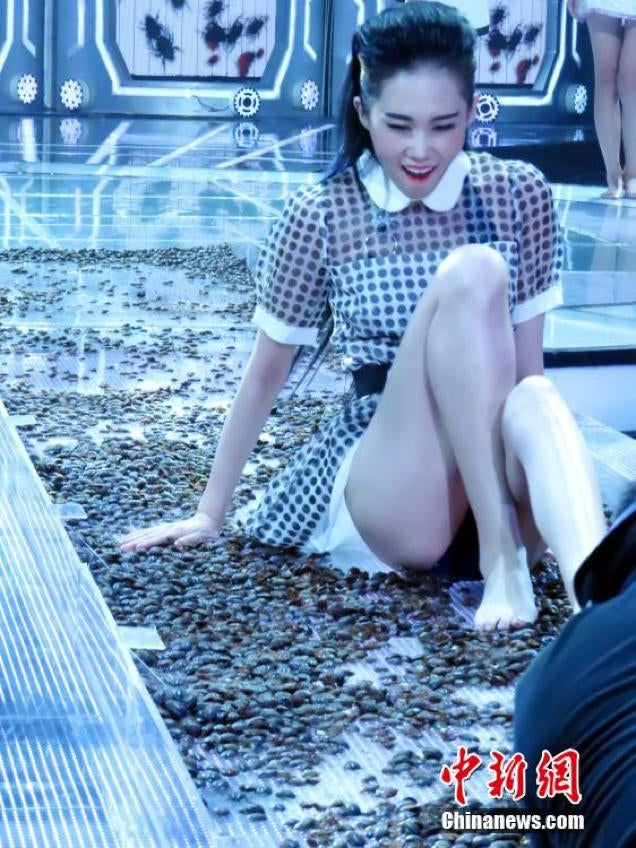 Models Walk on Insects for Chinese TV