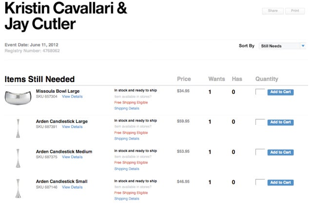 Yes, Jay Cutler And Kristin Cavallari Are Still Registered For A Few Things At Crate & Barrel
