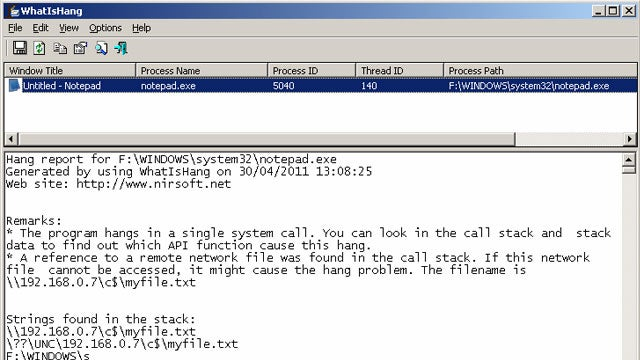 WhatIsHang Troubleshoots Windows Programs When They Stop Responding