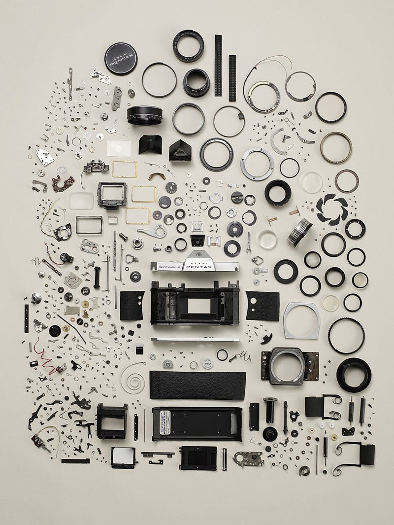 A Pentax Camera Beautifully Exploded
