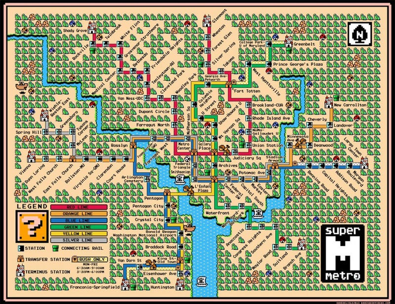 Washington DC's Metro Line Makes A Perfect Super Mario World Map